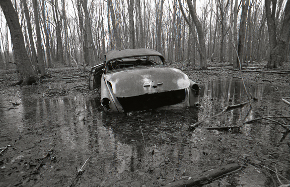 <b>abandoned car</b><br> 2008<br> 11/14 in. <br>  silver gelatin print