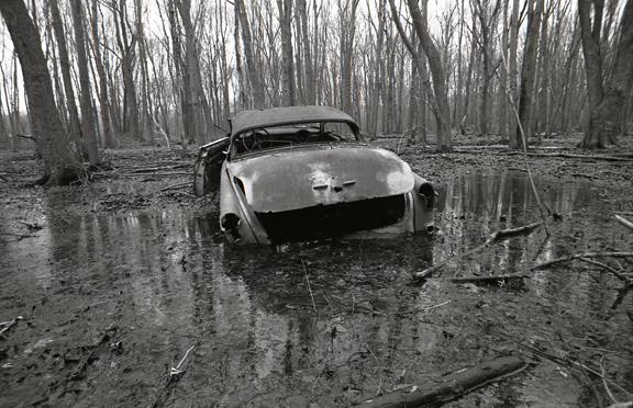 <b>abandoned car</b><br> 2008<br> 11/14 in. <br>  silver gelatin print