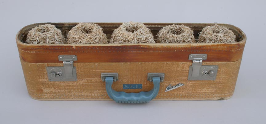 <b>S.E.L.'s nestbox </b><br> found suitcase, suitcase pieces, glue. 2013, .5 x 21.5 x 6 inches