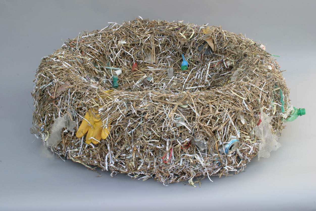 <b>refuge nest</b><br> detritus gathered from the EBF Wildlife preserve and the Noyes Museum wire mesh, wire, glue 2011, 12 x 40 x 40 inches
