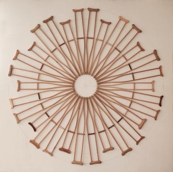 <b>crutch wheel</b> <br> found crutches, hardware 2013, 108 x 108 x 1 inches