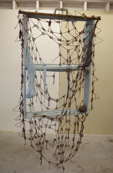 <b>window </b><br> suitcase pieces, metal bed frame, found nest 2016, 60 x 35 x 9 inches