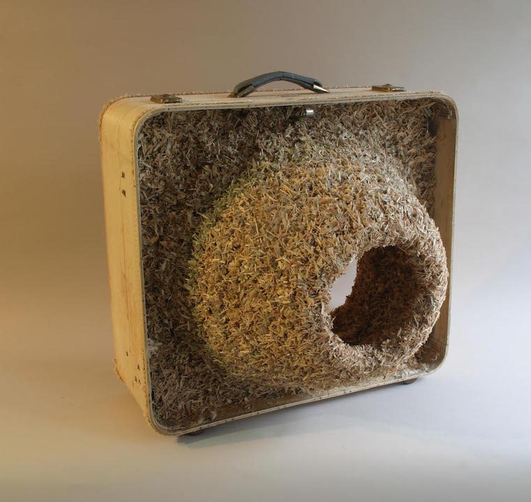 <b>suitcase colony IV </b><br> found suitcase, suitcase pieces, glue 2013, 24 x 24 x 20 inches