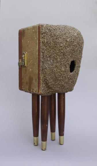 <b>nestbox with legs </b><br> found suitcase, wire mesh, tape, glue 2011,  24 x 9 x 15 inches